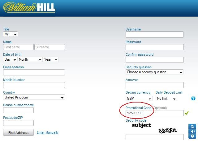 william hill codes