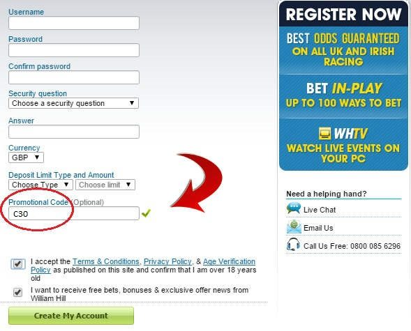 William Hill Promotional Code Registration