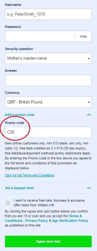 William Hill Promotional Code Registration